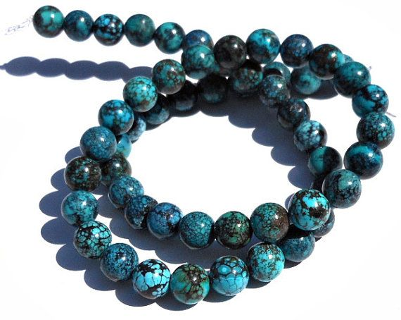 1 Strand 8mm Turquoise Stone Round Beads Turquoise by GodivaJewels, $8.35