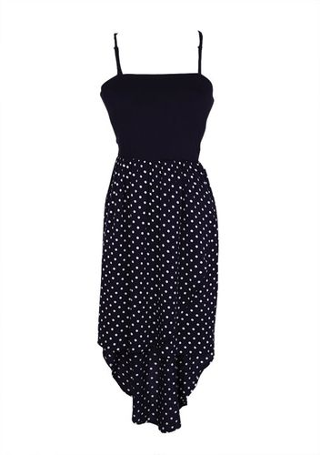 Navy Polka Dot Hi-Lo Dress in {productContextTitle} from {brandTitle} on shop.CatalogSpree.com, your personal digital mall.