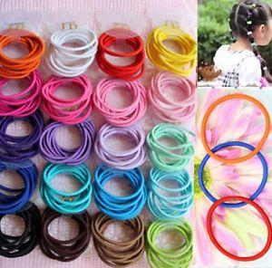 100PCS//Lot Cute Kids Girl Elastic Tiny Hair Tie Band Rope Ring Ponytail Holder