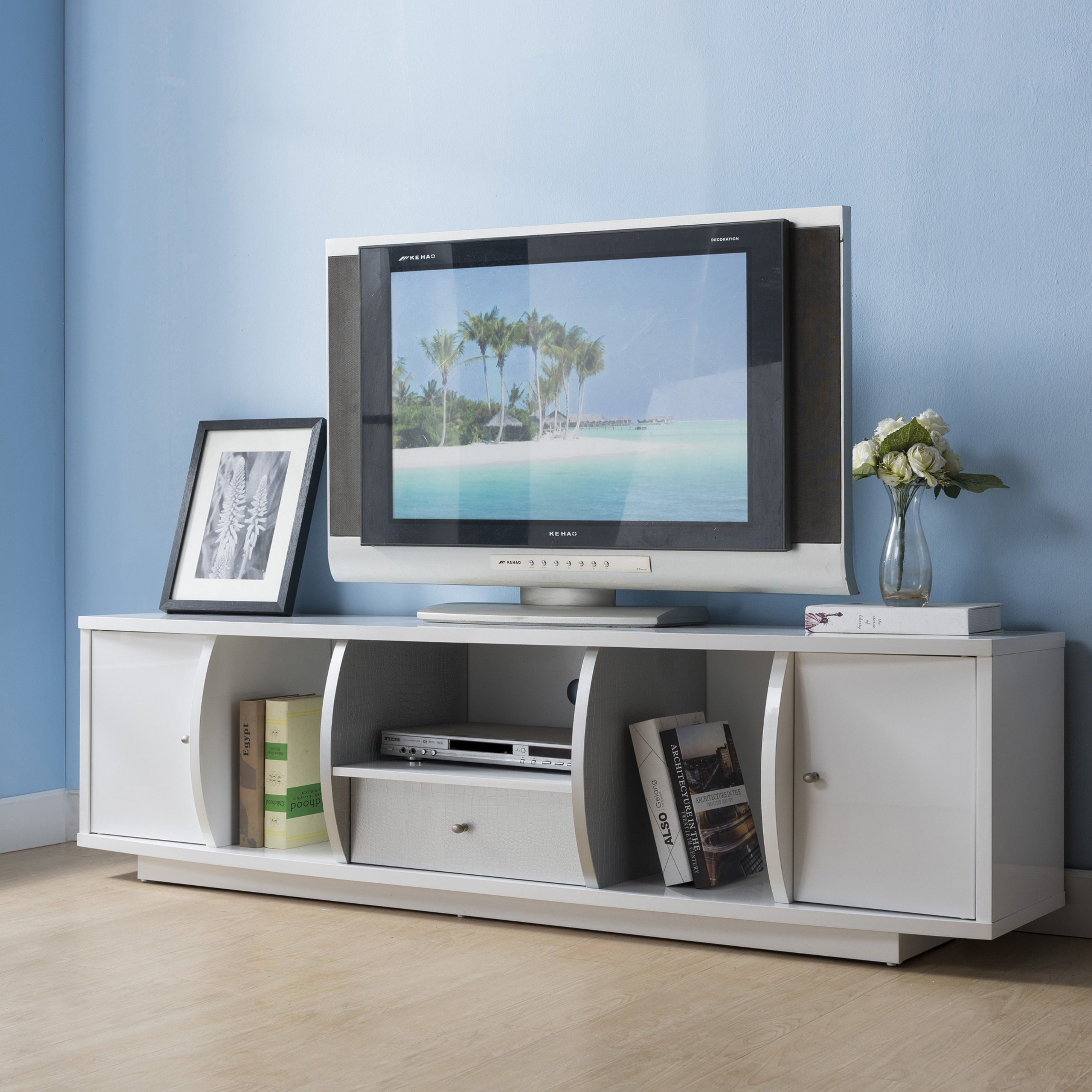 72 Inch Silver Tv Stand By Foa