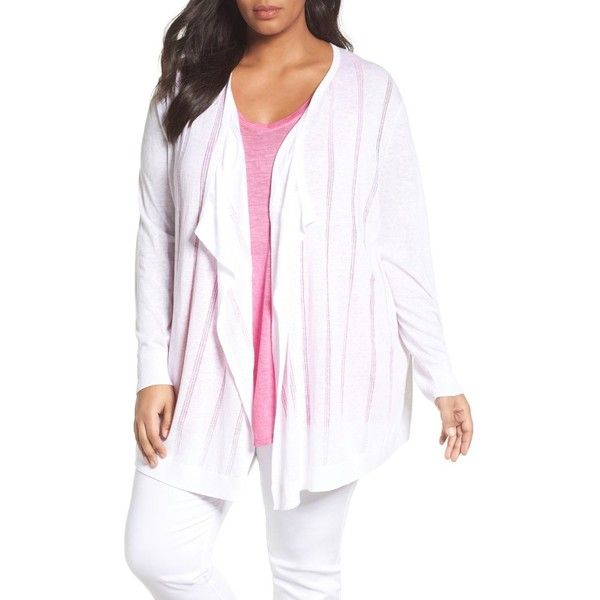 Plus Size Women's Sejour Drape Front Cardigan (4.505 RUB) ❤ liked on Polyvore featuring tops, cardigans, plus size, white, drape front top, cardigan top, women's plus size tops, plus size drape front cardigan and plus size white cardigan