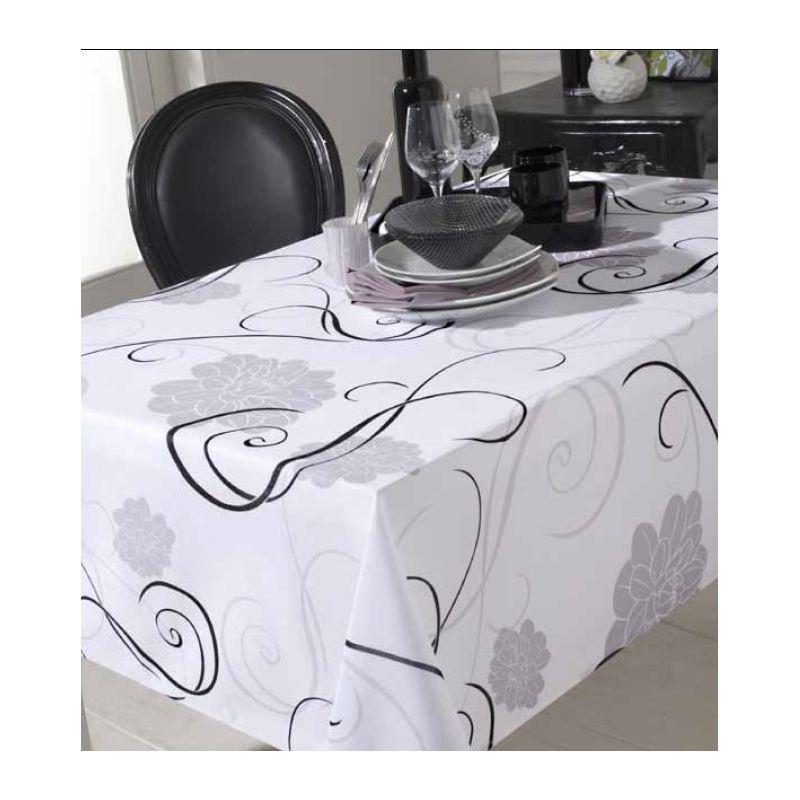 nappe rectangulaire 150 x 250 cm anti taches et sans repassage black white. Black Bedroom Furniture Sets. Home Design Ideas
