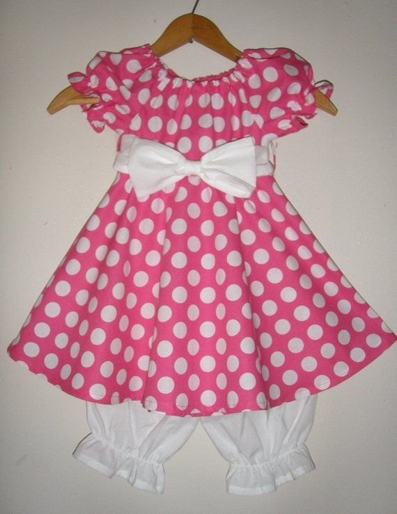 5dc505f44 Minnie Mouse Dress pink polka dot dress with long ruffled white ...