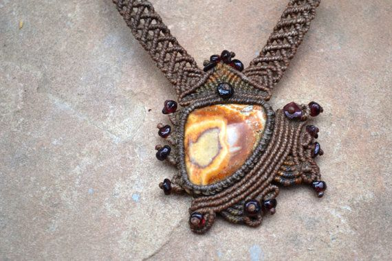 Abstract Macrame Necklace/ Cream/ Copper Onyx/ by SpiritYSol