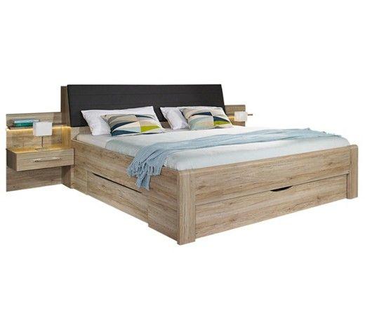 Raffiniertes Bett mit 2 Nachttischen und Stauraummöglichkeiten - schlafzimmer betten günstig