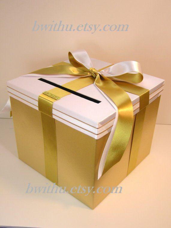 Wedding Card Box Gold and Black Gift Card Box Money Box Holder ...