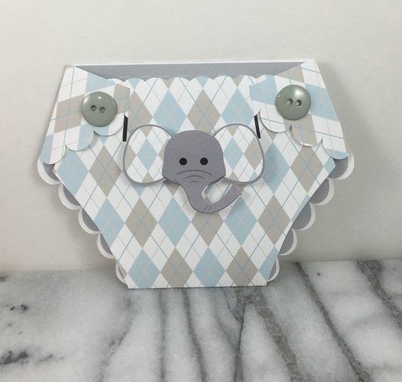 Invitation Baby Elephant Diaper Shaped Shower Invites Set Of 10 Argyle Pattern In Pink Blue