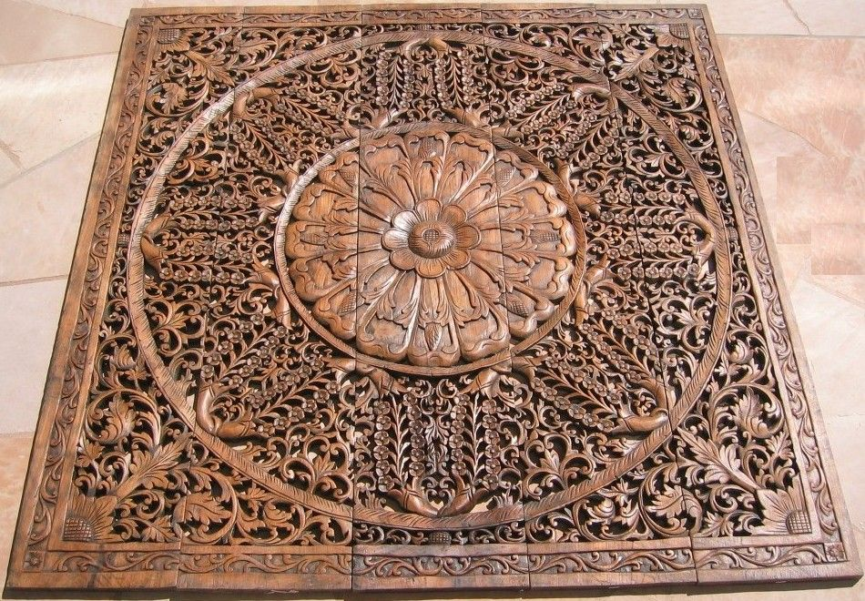 Thai Teak Wood Carving Panels X5 Thai Teak Wood Panel