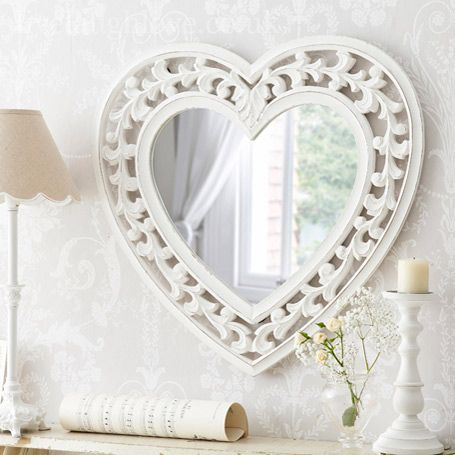 Large Heart Carved Mirror Shabby Chic Mirror Heart Mirror Shabby Chic Gifts
