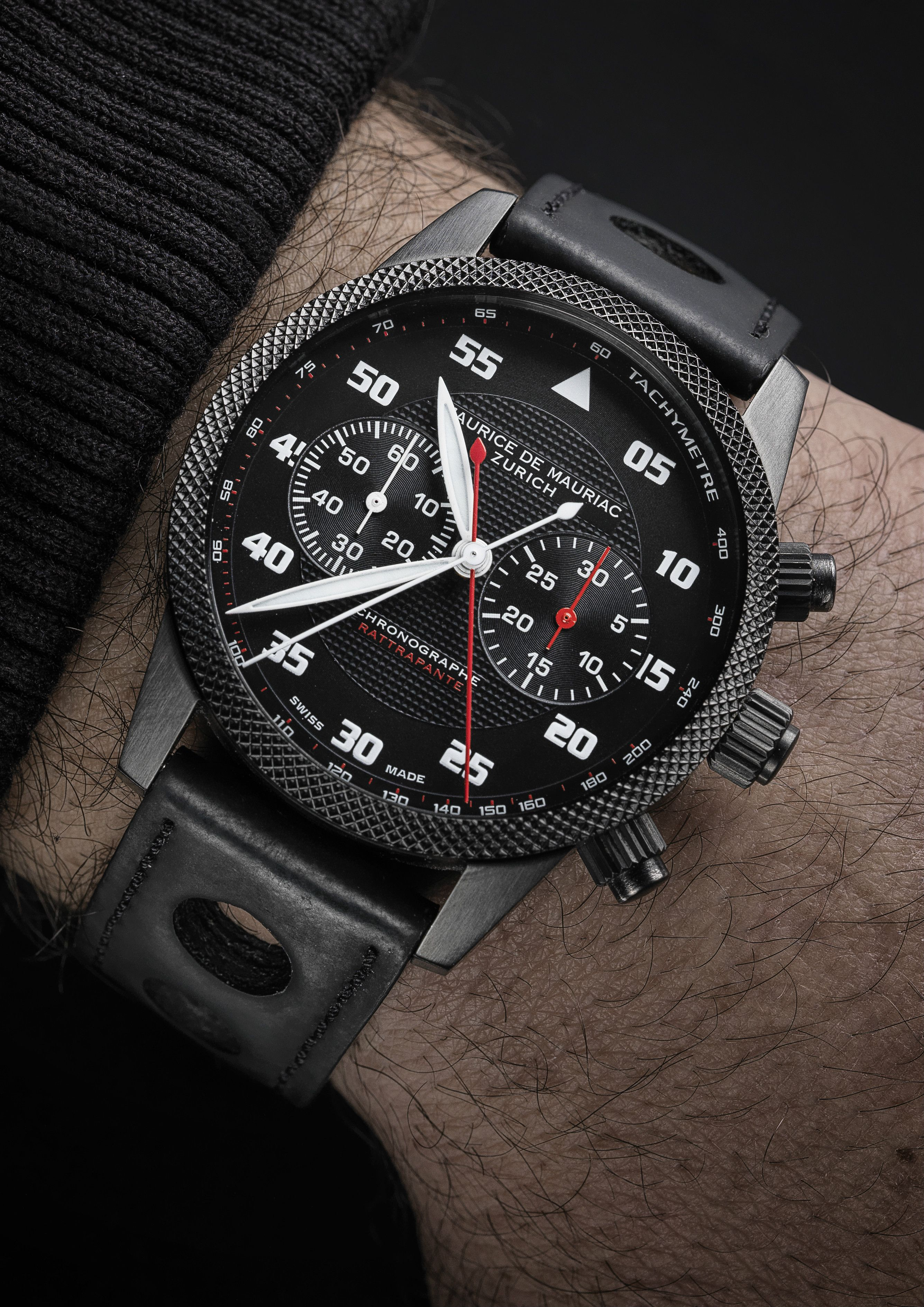 b55ab006420 Double Chronograph Rattrapante Monopoussoir by Maurice de Mauriac. Swiss  luxury watches for men and women.