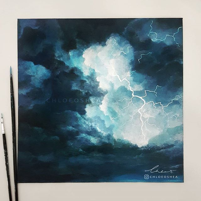 I M Really Loving Acrylic Paint And Wet Season Is Pretty Much Here So It Inspired Me To Do Another Stormy Painting Art Painting Art Acrylic Art