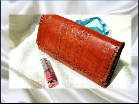 Classy Handmade handbag. Leather clutch Purse. Indian, hand embossed. Honey brown leather handbag. From Artkrti.