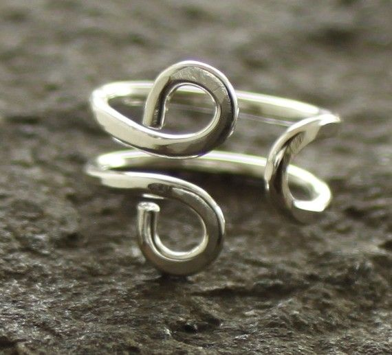 Om hand forged adjustable sterling silver ring - Yoga ring ...