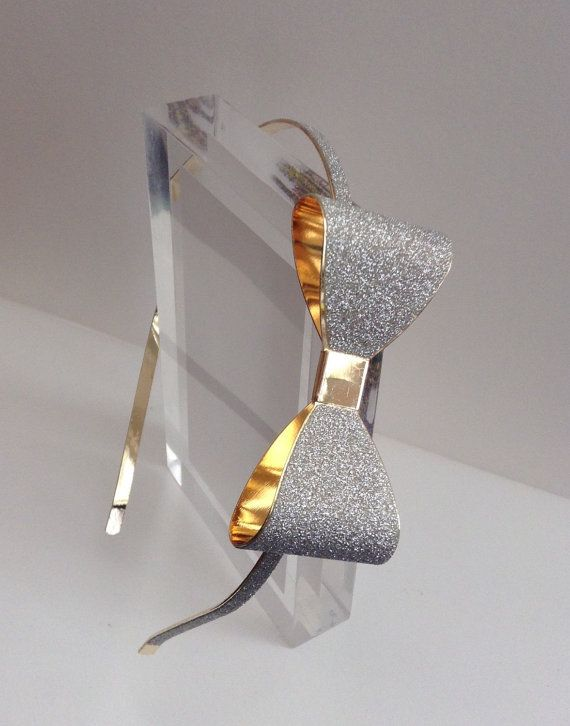 Glitter headband for any occasion  Materials - Metal headband - Silver metal bow about 2 & 1/2 inches long