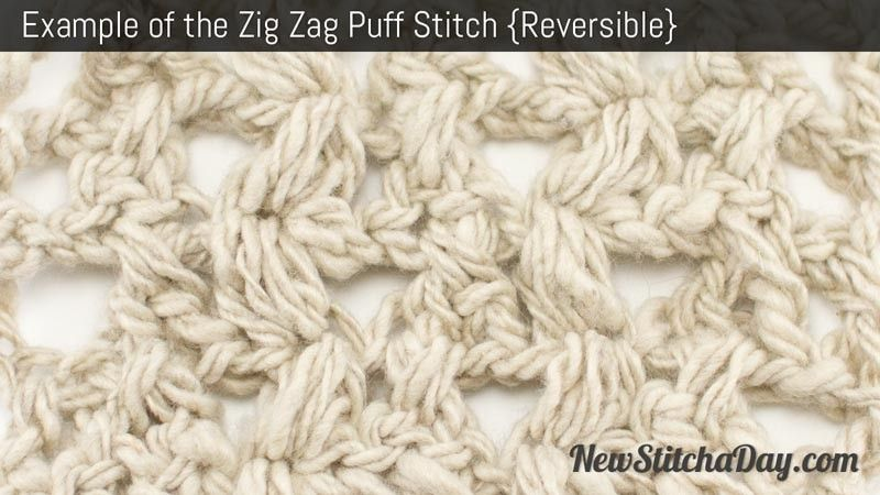 Example of the Zig Zag Puff Stitch | Crochet | Pinterest