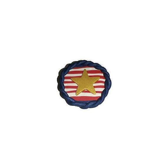 Patriotic Brooch Pin Anchor Pin Golden door ButterflyKissedGlass