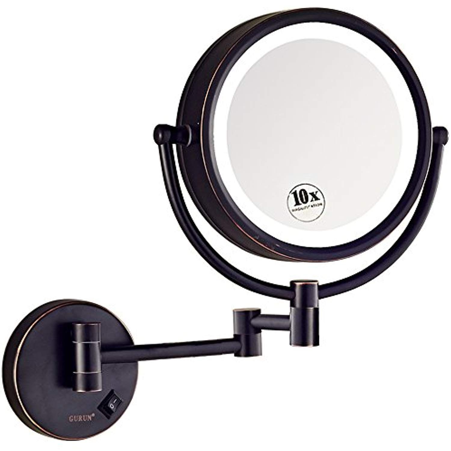 Gurun Led Lighted Wall Mount Makeup Mirror With 10x Magnification Oil Rubbed Bronze Finish 8 5 Inch Brass M1809do 8 5in 10x Check O Furniture Wall