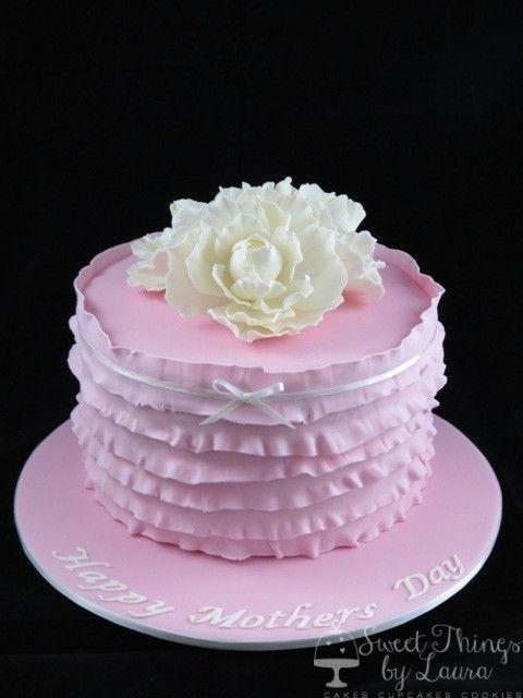 Pink Ruffles & Peonies Cake