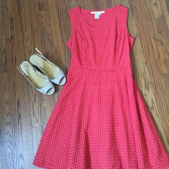 Red eyelet sundress Max studio red eyelet dress.  Very flattering and comfortable fit.  Excellent condition. Max Studio Dresses