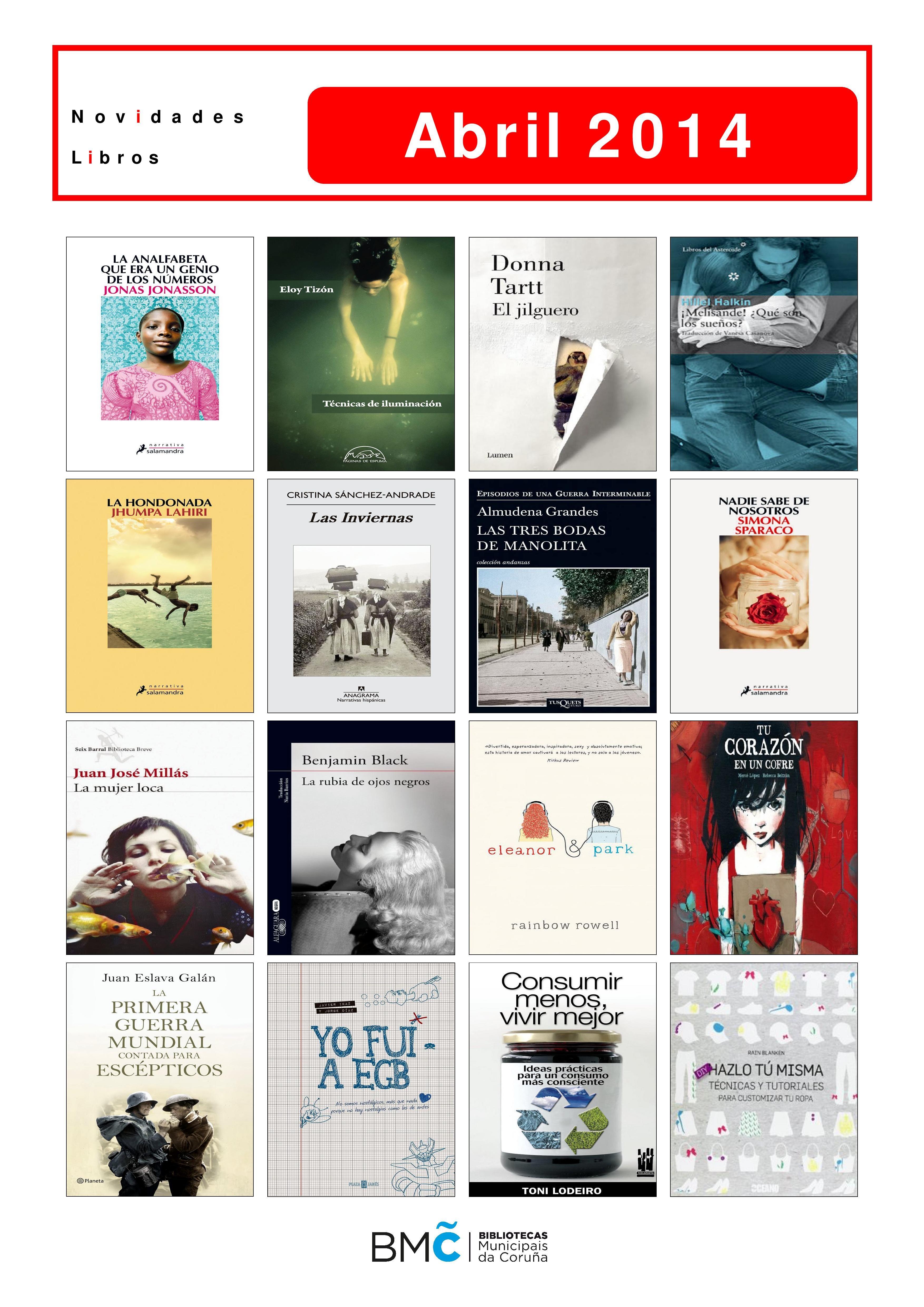 Novelas e libros de materia dispoñibles desde o 1 de abril para levar en préstamo, na Biblioteca Os Rosales.