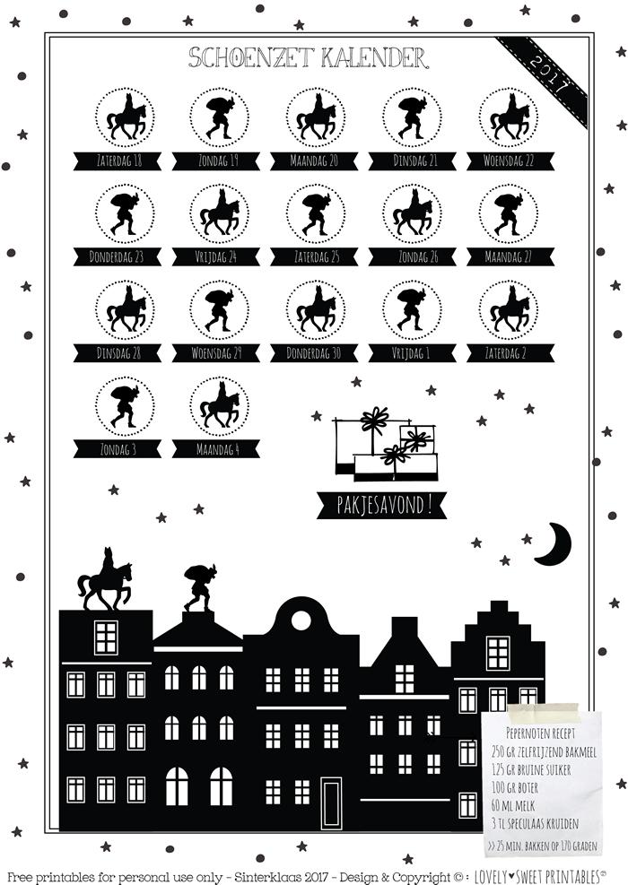 2017 free schoenzet kalender met pepernoten