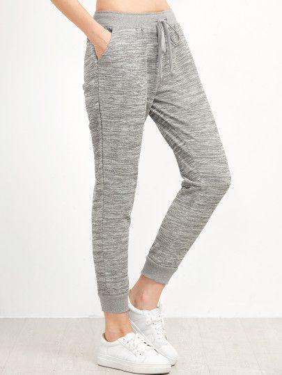 a03d6238bd32b Pantalones estilo casual con cordón en la cintura - gris ...
