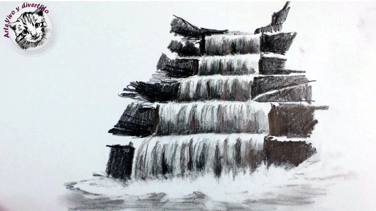 Como Dibujar Una Cascada A Lapiz Paso A Paso Tecnicas De Dibujo Con Lapiz Dibujos Con Carboncillo Como Dibujar Cosas Lapices De Colores Dibujos