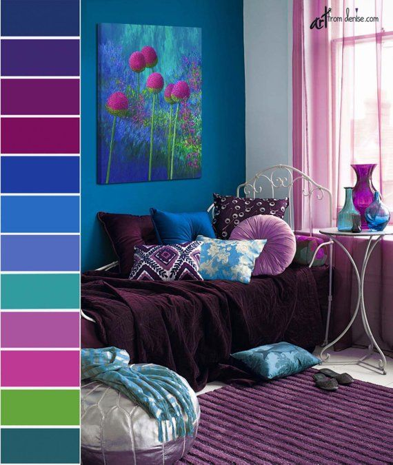 Decorating The Bedroom With Green Blue And Purple: Tall Vertical Wall Art Canvas Floral Painting, Green, Blue