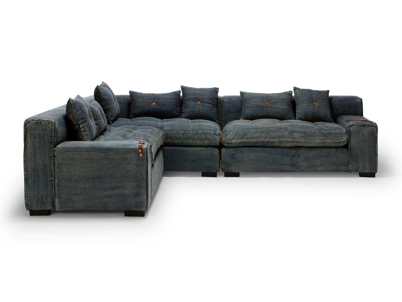 Canapé d angle LIVINGSTON en tissu jeans bleu Kasia