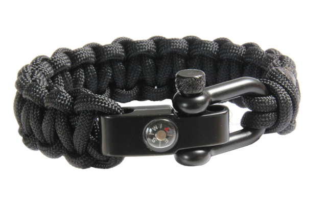 Paracord 550 zwart met metalen shackle en kompas