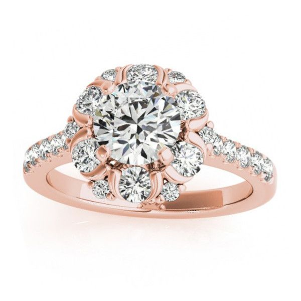Allurez Flower Halo Diamond Engagement Ring Designer 14k Rose Gold