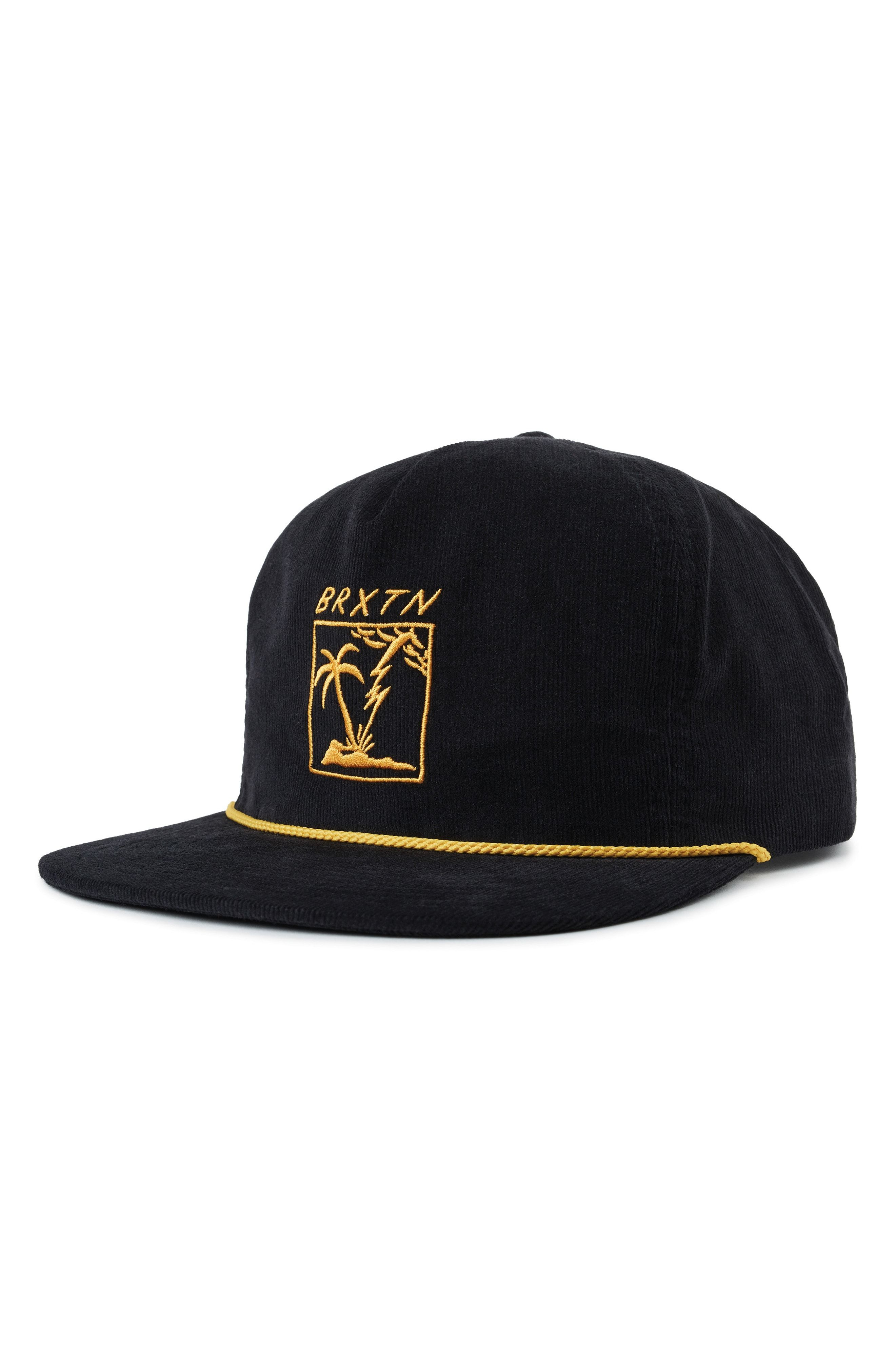 4fe9331088100 BRIXTON STRANDED EMBROIDERED CORDUROY CAP - BLACK.  brixton ...