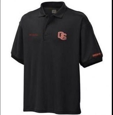 Oregon State OSU Beavers NWT Columbia Sportswear Black Polo Omni-Shade Small S