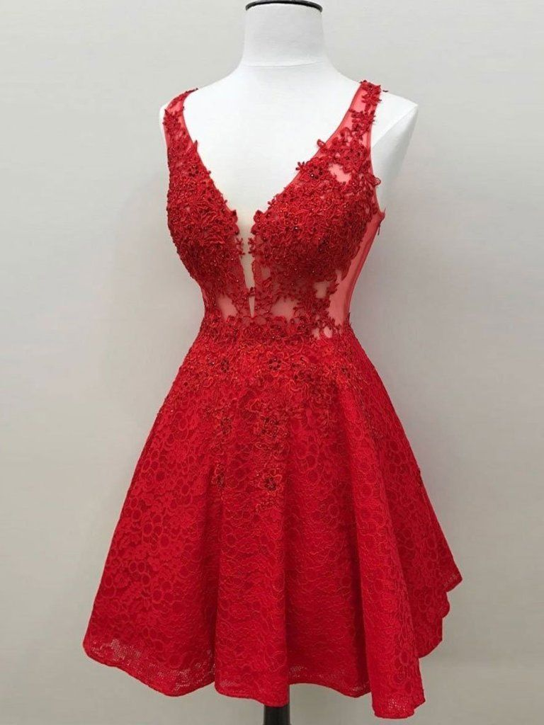 Red see through lace custom cheap homecoming dresses cm in