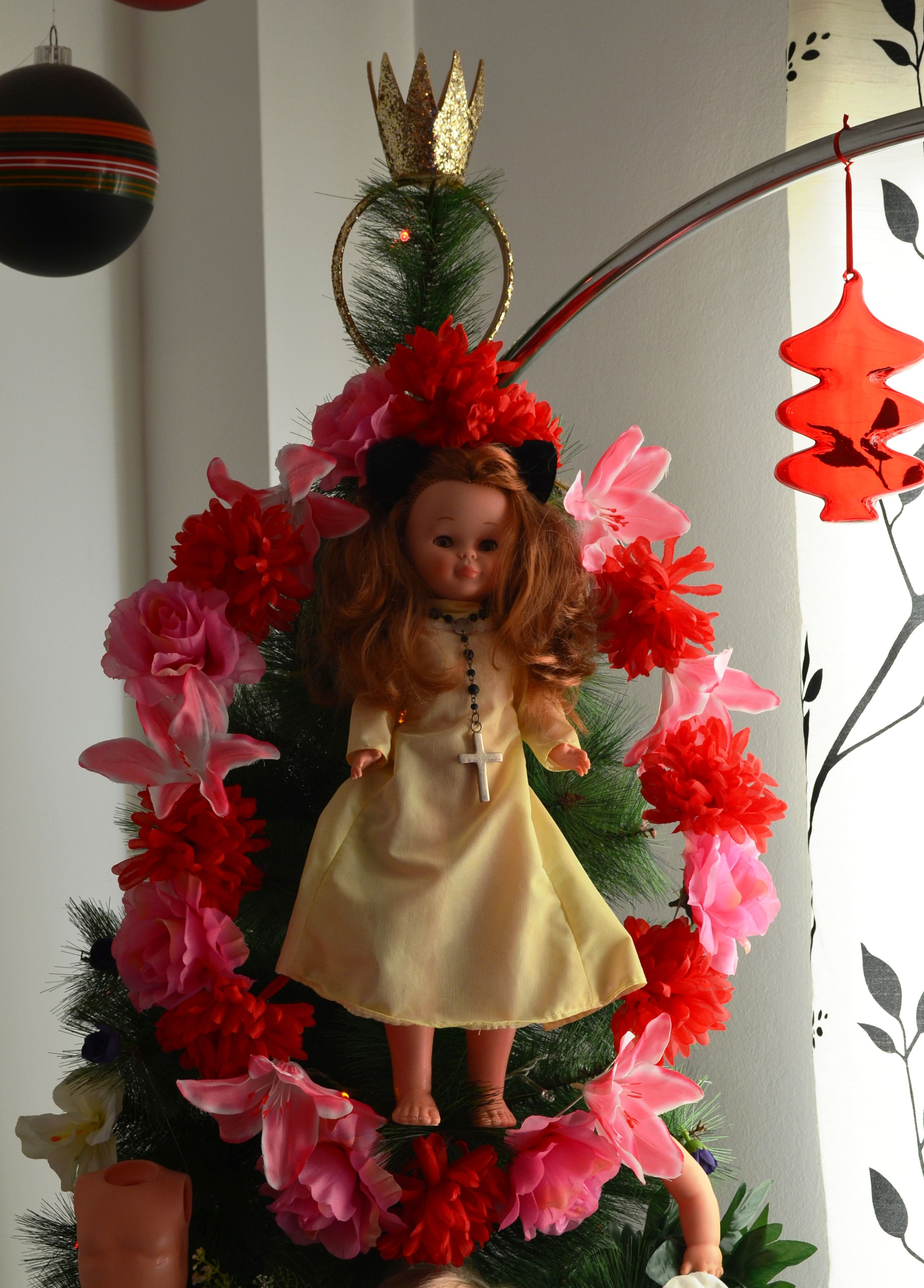 Nancy doll and flowers. Own Christmas tree.