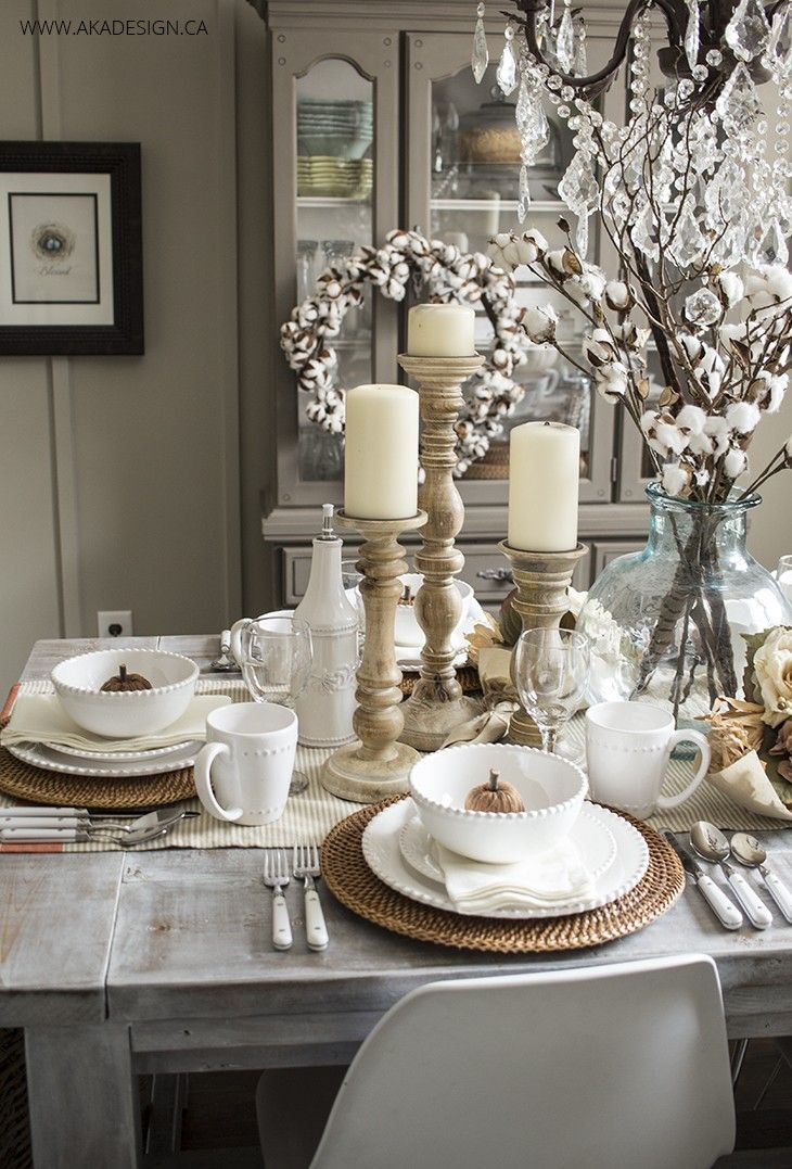 Dining Rooms tablescape dining table table setting accents accessories fall autumn netural white AKA Design & Early Fall Dining Room | Table settings Dining and Autumn