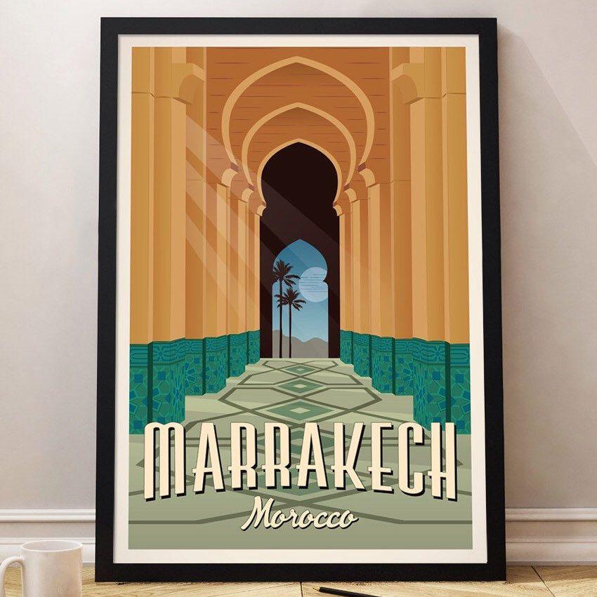 Cartel vintage marrakech viaje marruecos poster travel poster vintage decoracion lamina - Poster decoracion ...