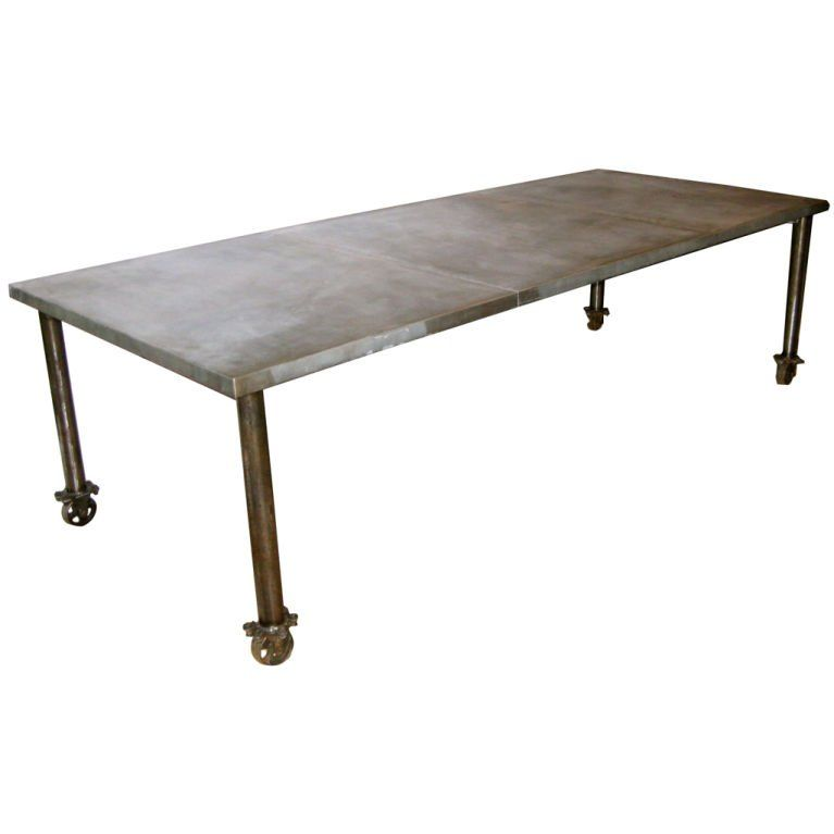 Industrial Zinc Top Dining Table On Wheels 1stdibs Com