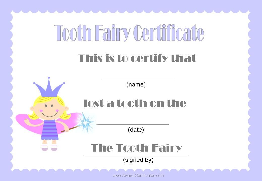 Free Tooth Fairy Certificate Crafts Pinterest Tooth Fairy