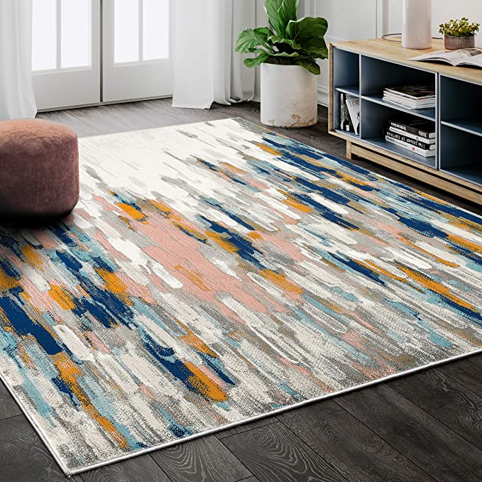 Amazon Com Abani Rugs Orange Blue Contemporary Abstract Area Rug Contemporary Style Porto Collection Turki In 2021 Colorful Rugs Contemporary Area Rugs Area Rugs
