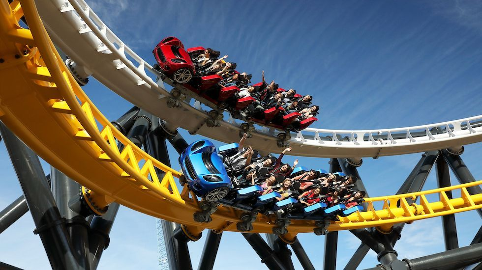 West Coast Racers Now Open At Six Flags Magic Mountain In 2020 West Coast Customs Roller Coaster Six Flags