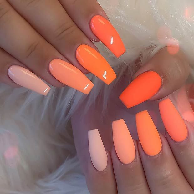 43 Crazy Gorgeous Nail Ideas For Coffin Shaped Nails Coffin Shape Nails Swag Nails Orange Nails