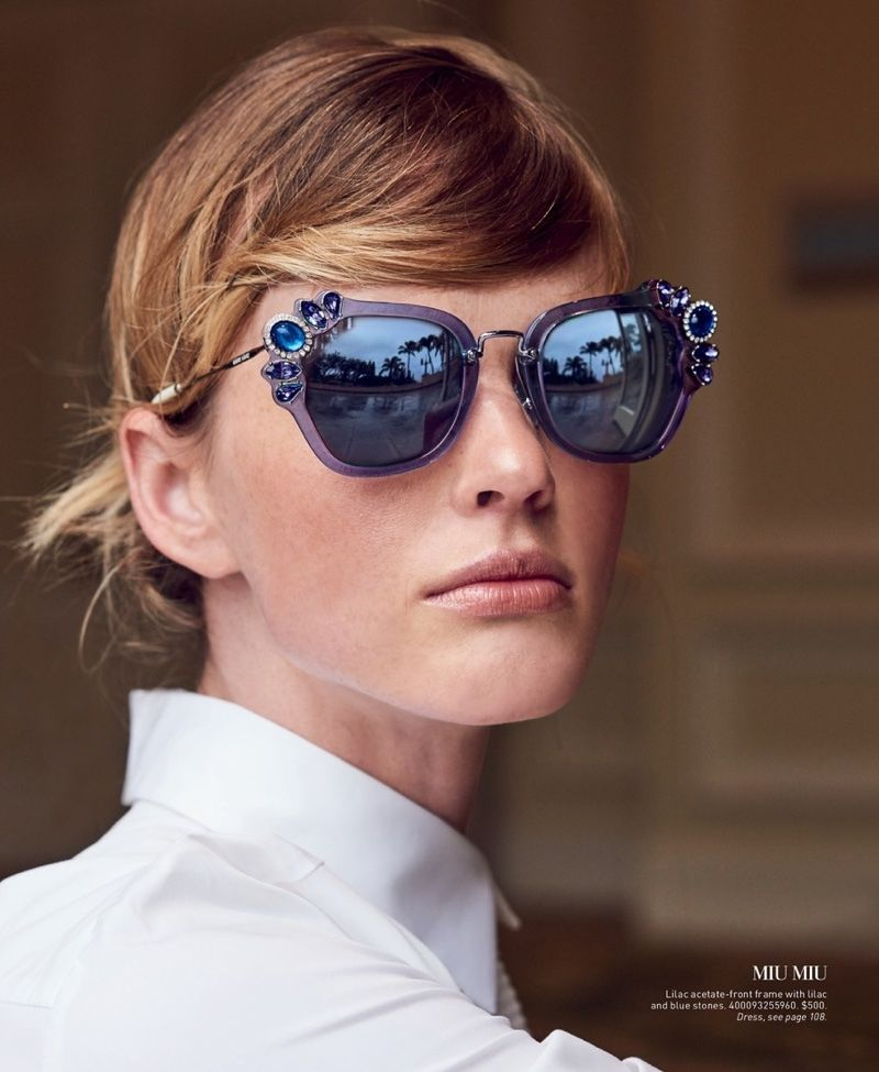 19b59531f228 Anne Vyalitsyna Models the Season s Must-Have Sunglasses from Saks ...