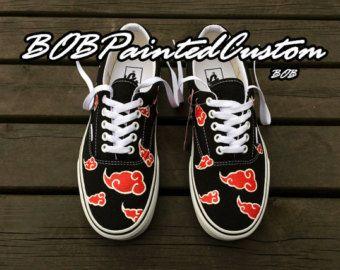 Lace Up Black Vans Custom Anime Naruto Akatsuki Design Hand
