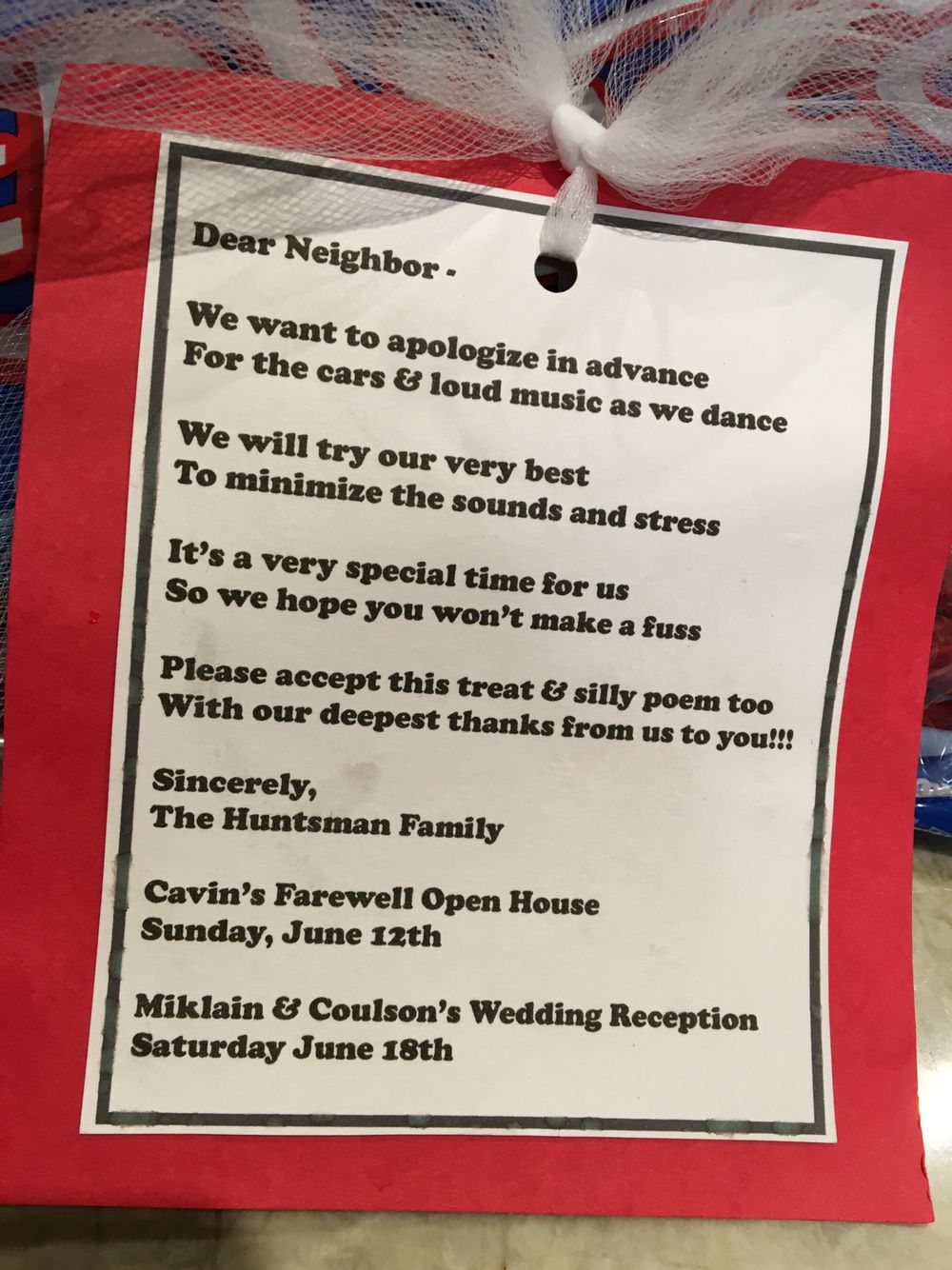 Neighbor Gift To Warn Them Of A Party Amp Wedding Reception