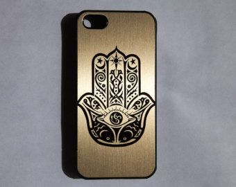 Hamsa Hand Golden Metallic iPhone 6-5S-5C-5-4S-4 Rubber Case Cover