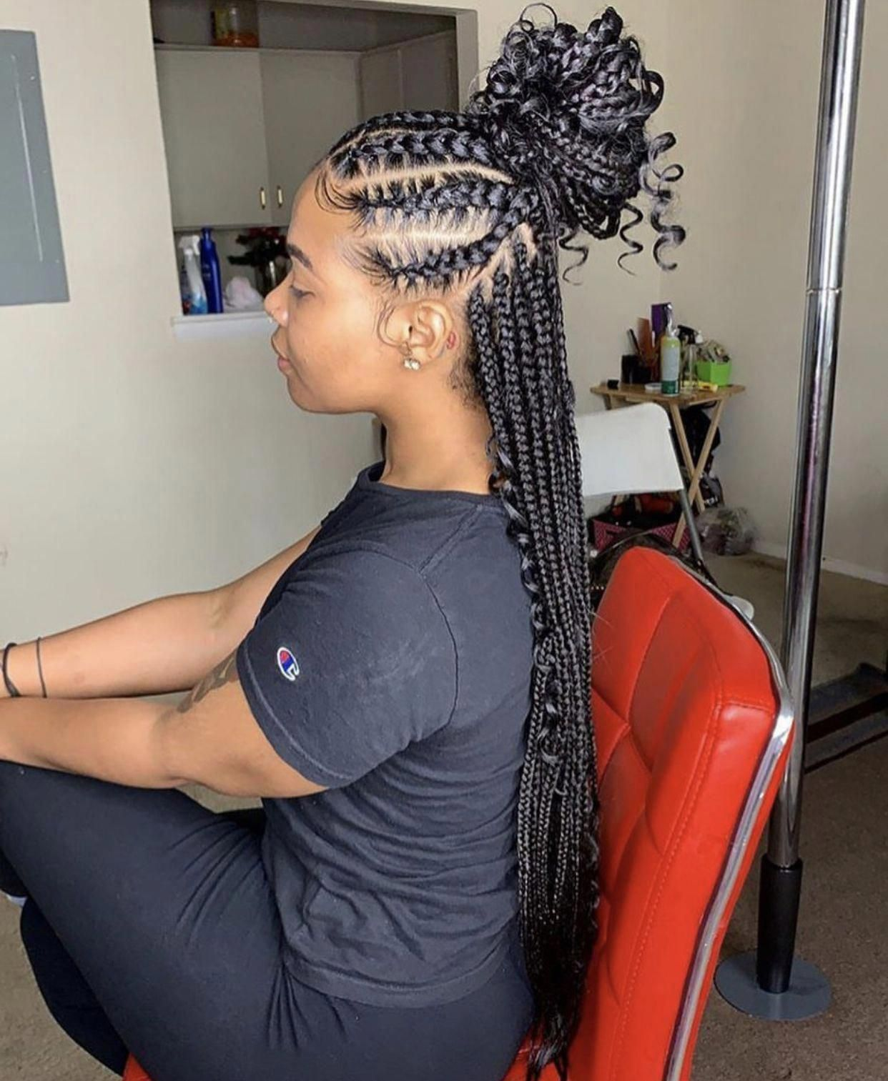 Feed Ins And Box Braids Half Up Half Down Twobraided Boxbraidshairstyles In 2020 Feed In Braids Hairstyles Braids With Curls Braids For Black Hair