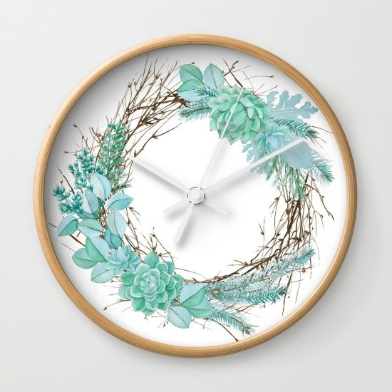 Pin By Simon On Flower Watercolor Design Wall Clock Clock