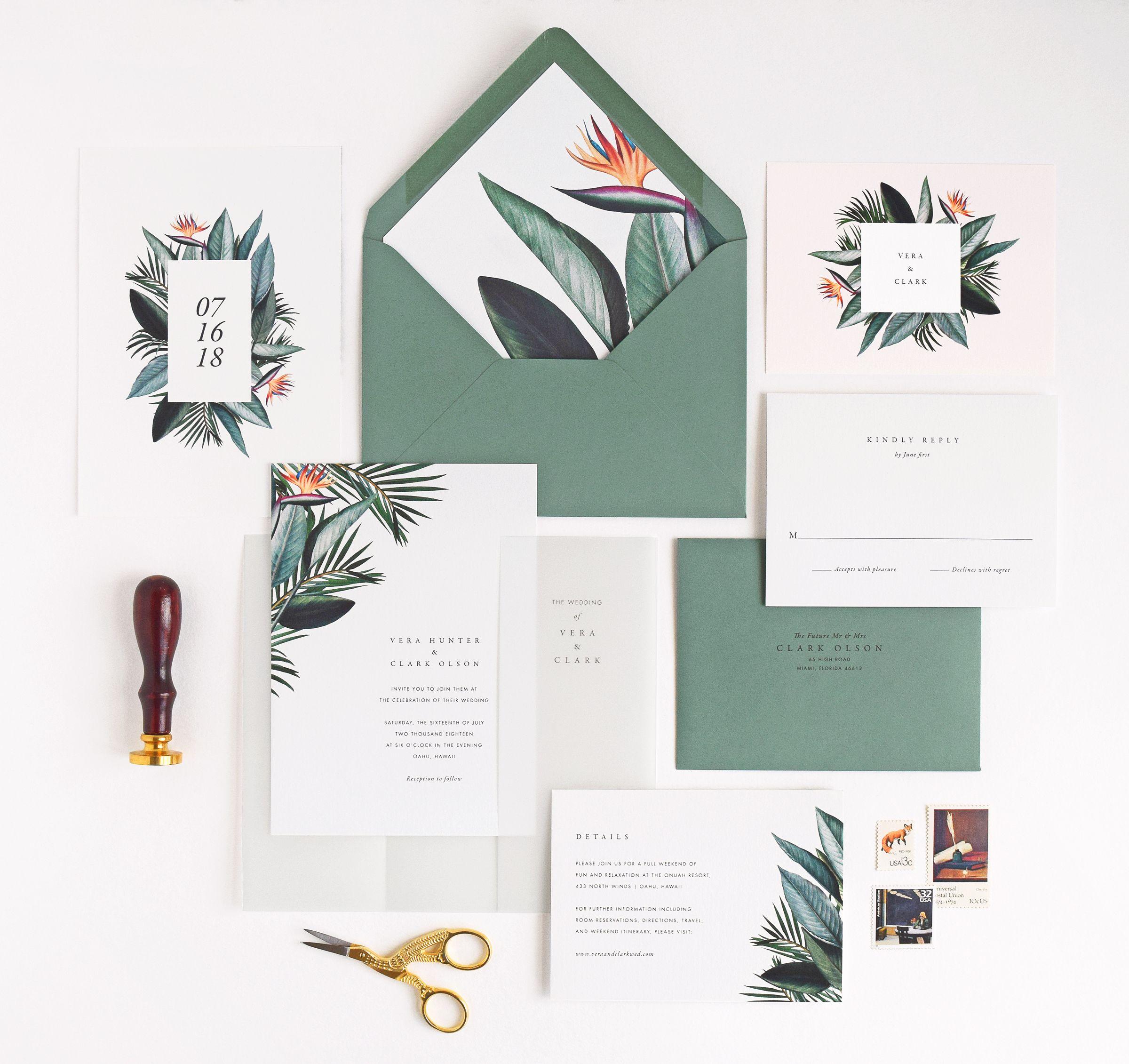 Tropical Wedding Invitations Rachel Marvin Creative Birds Of
