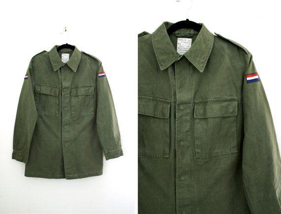 Vintage Dutch Army Green Jacket at CutandChicVintage on Etsy